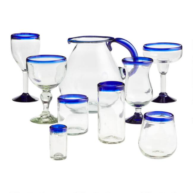 Blue Rocco Glassware Collection