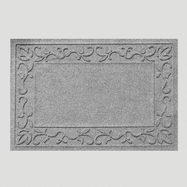 Gray Vine Border WaterGuard Doormat