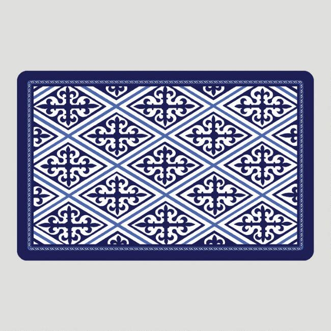 Blue Tile Cushioned Floor Mat