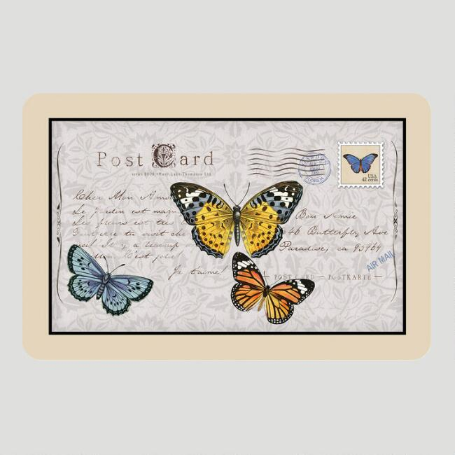 Butterfly Postcard Cushioned Floor Mat