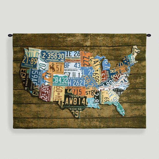 USA Wood Tags Tapestry Wall Hanging