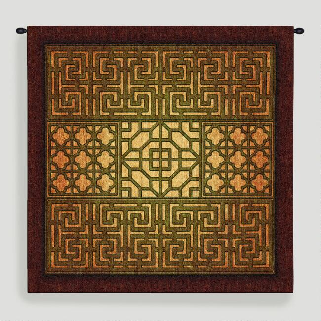 Eastern Lattice Tapestry Wall Hanging