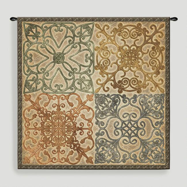 Wrought Iron Elegance Tapestry Wall Hanging