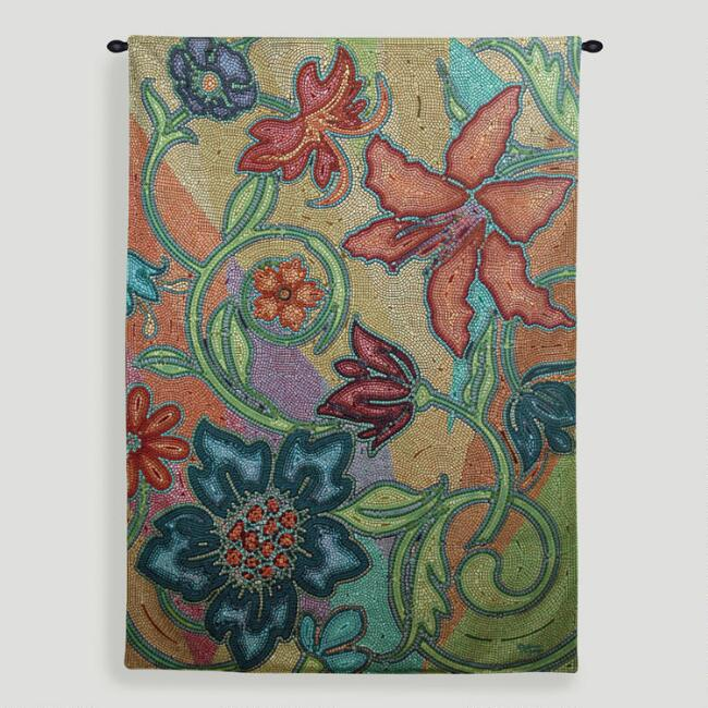 Garden Party Mosaic Tapestry Wall Hanging