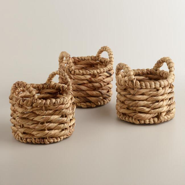 Natural Mini Jessica Baskets, Set of 3