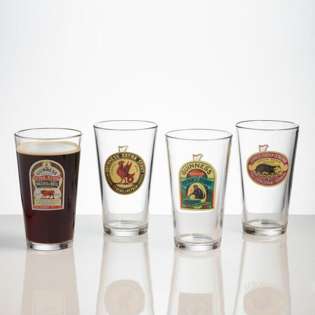 Guinness Pint Glasses, Set of 4