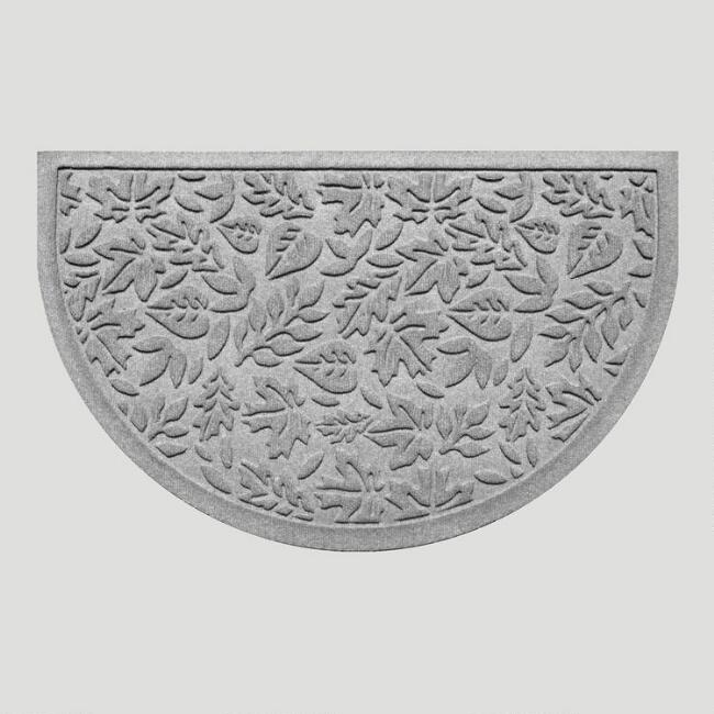 Gray Fall Leaves Half-Round WaterGuard Doormat