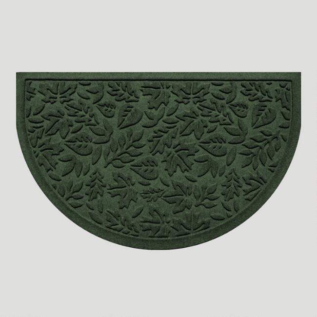 Evergreen Fall Leaves Half-Round WaterGuard Doormat