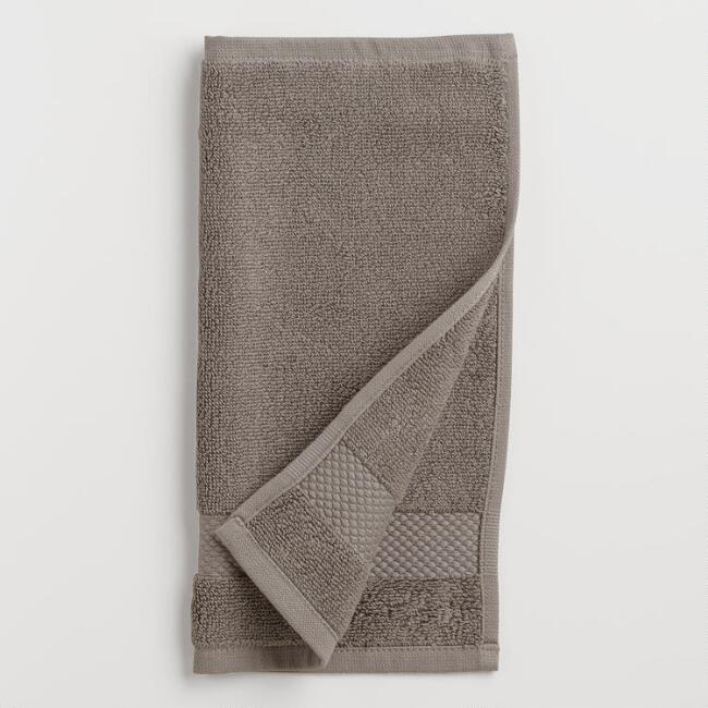 Frost Gray Cotton Washcloth, Set of 2