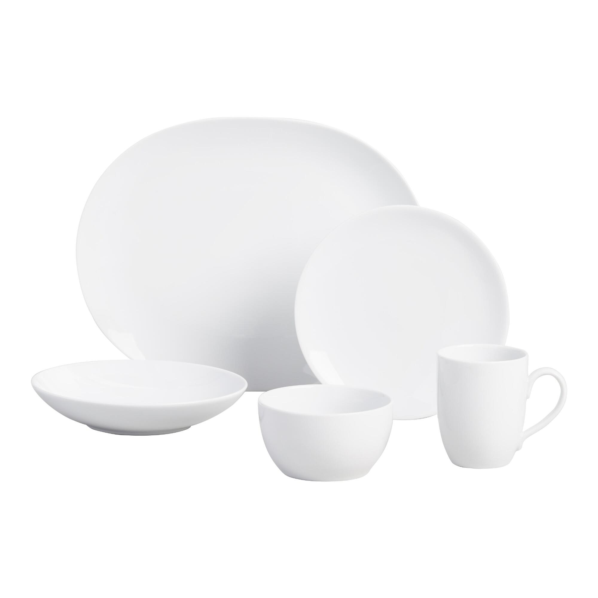 dinnerware  plates bowls  sets  world market - white coupe dinnerware