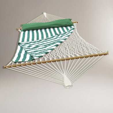 Cotton Rope Double Hammock with Green Striped Pad and Pillow