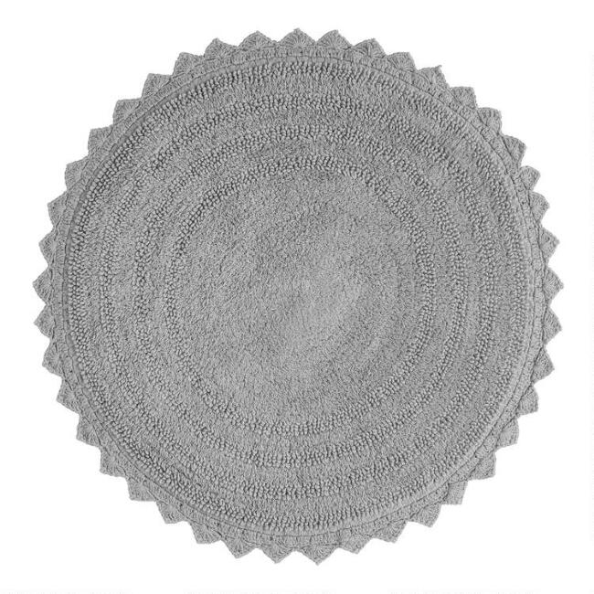 Round Frost Gray Cotton Bath Mat