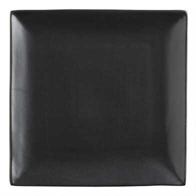 Square Black Trilogy Dinner Plates, Set of 4