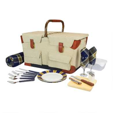 Picnic Time Canvas and Rattan Piedmont Picnic Basket