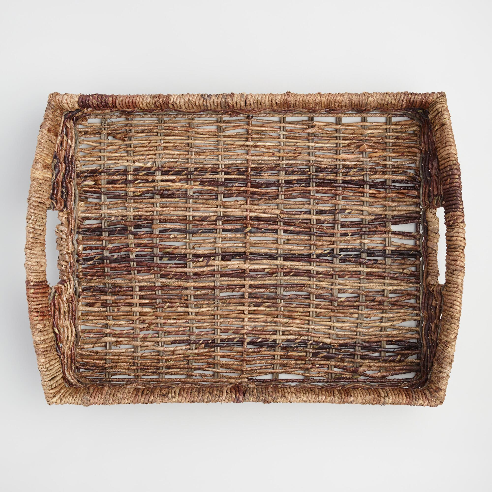 Madras Serving Tray: Brown - Natural Fiber by World Market