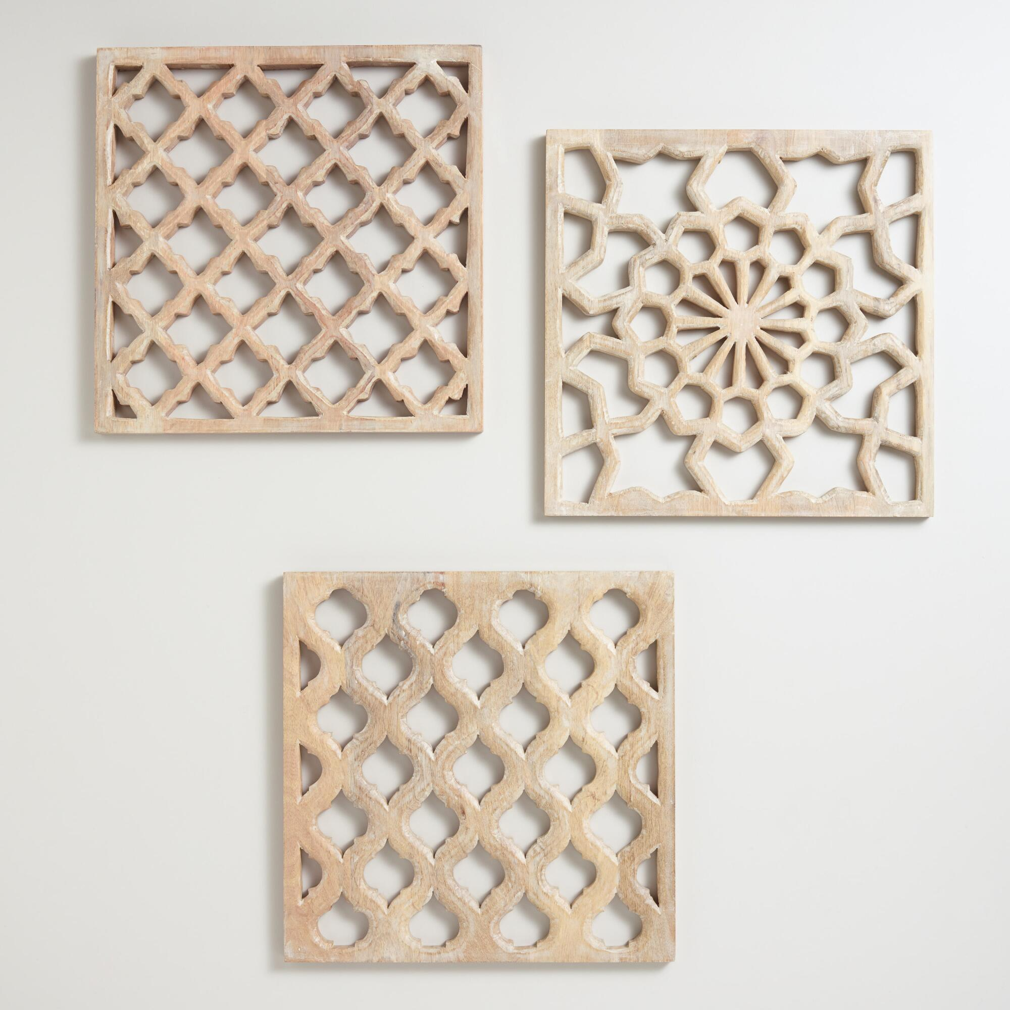 Wall shelves storage and racks world market nathan carved wood wall panels set of 3 amipublicfo Gallery