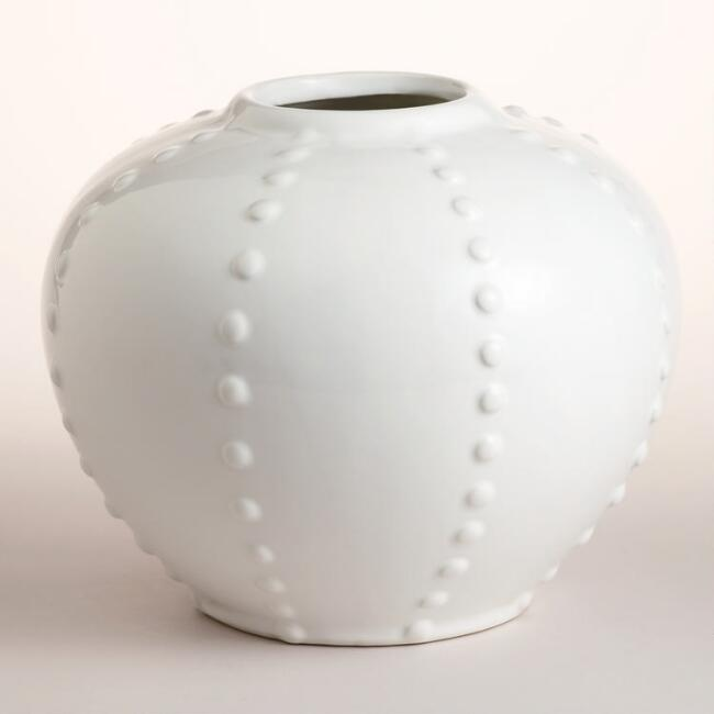 White Ceramic Round Vase World Market