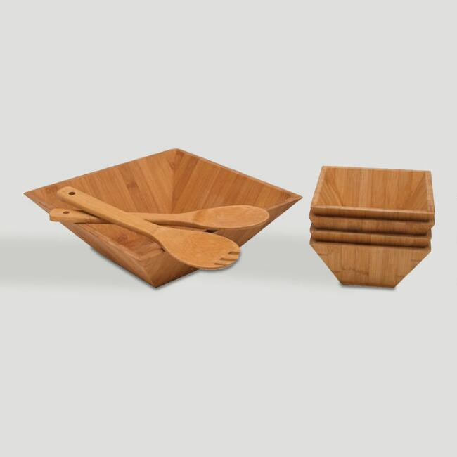 7-Piece Square Bamboo Salad Bowl Set