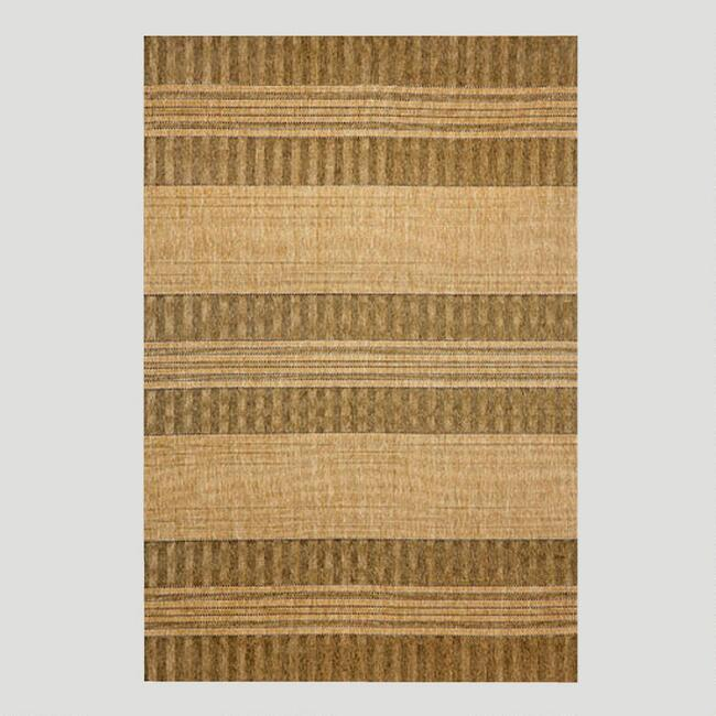 Oatmeal Textured Stripe Indoor-Outdoor Rug