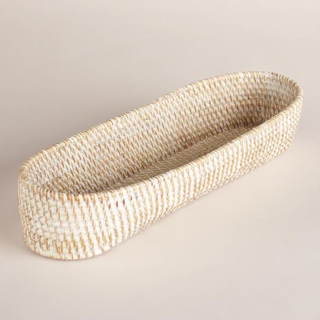 Whitewash Rattan Bread Basket