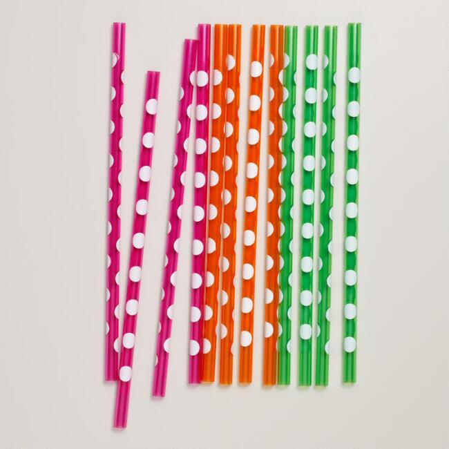 12 Pack Polka Dot Straws Set of 2