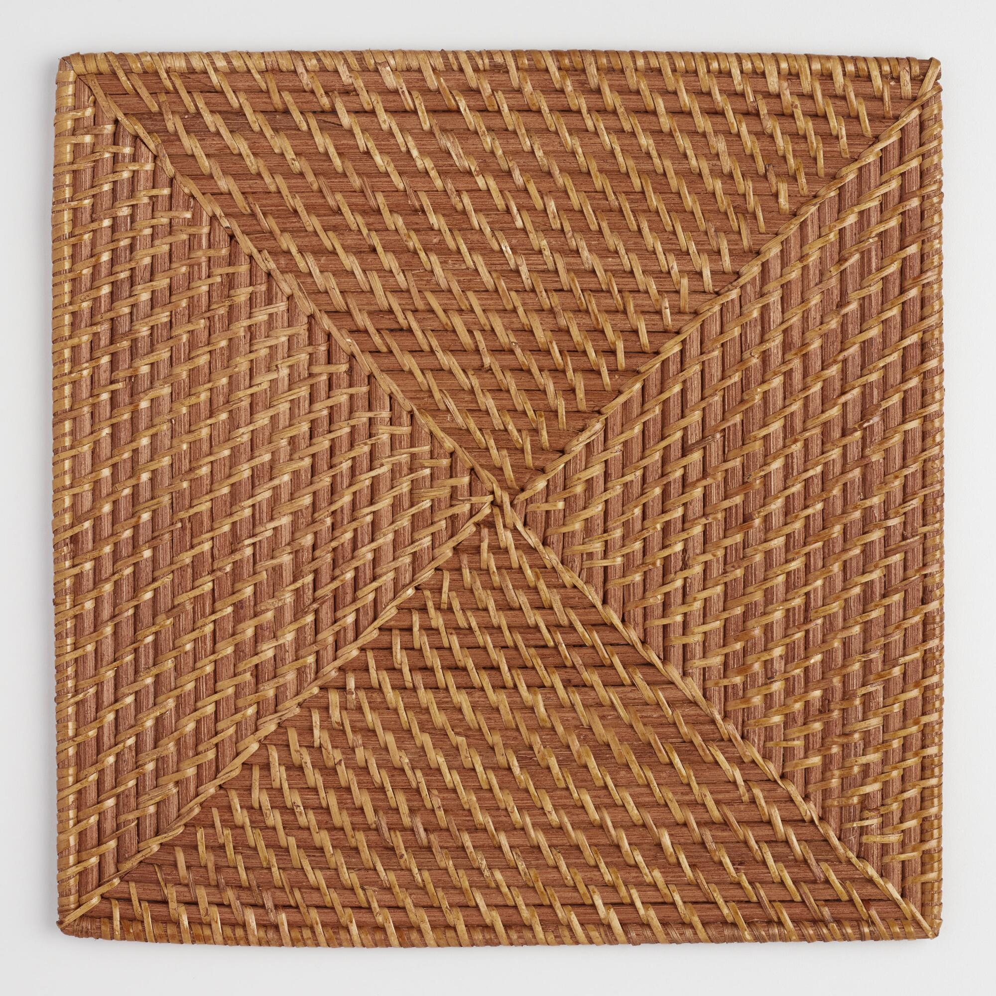 Square Rattan Chargers, Set of 4: Brown - Natural Fiber by World Market