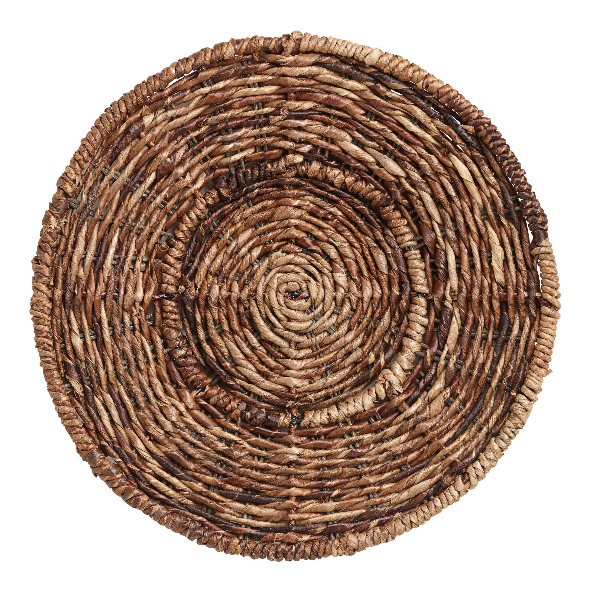 Round Madras Chargers, Set of 4: Brown - Natural Fiber by World Market