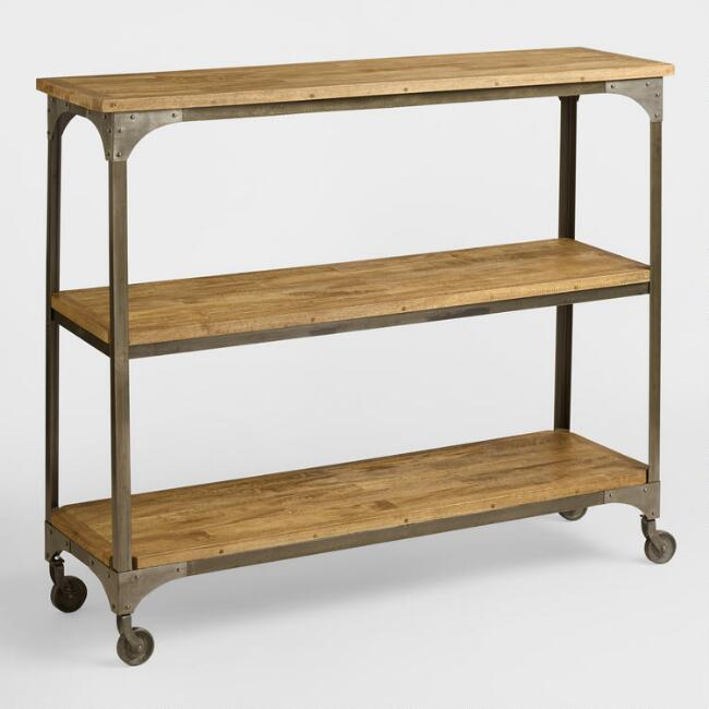 Wood and Metal Aiden 3-Shelf Console Table