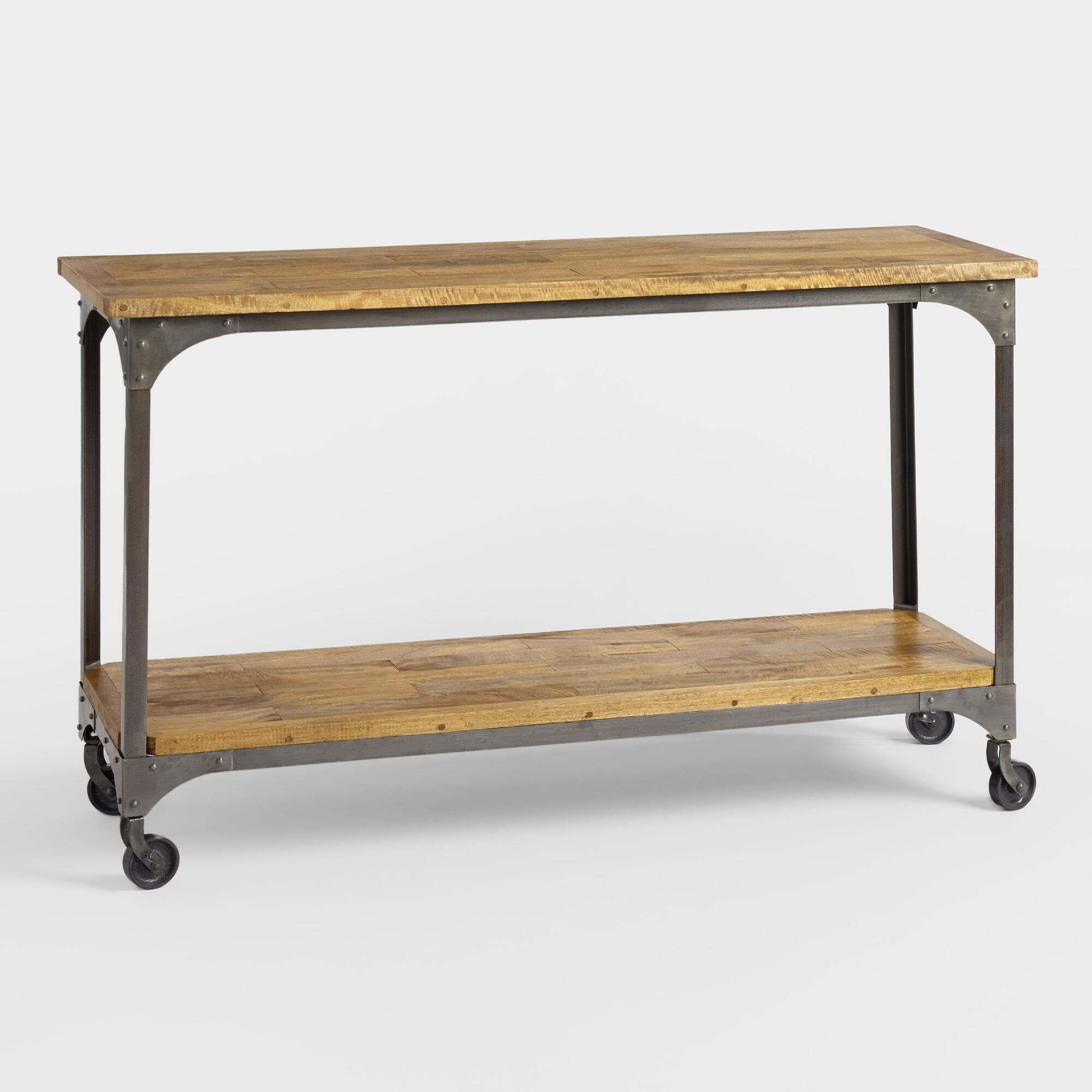 Wood and metal aiden console table world market geotapseo Gallery