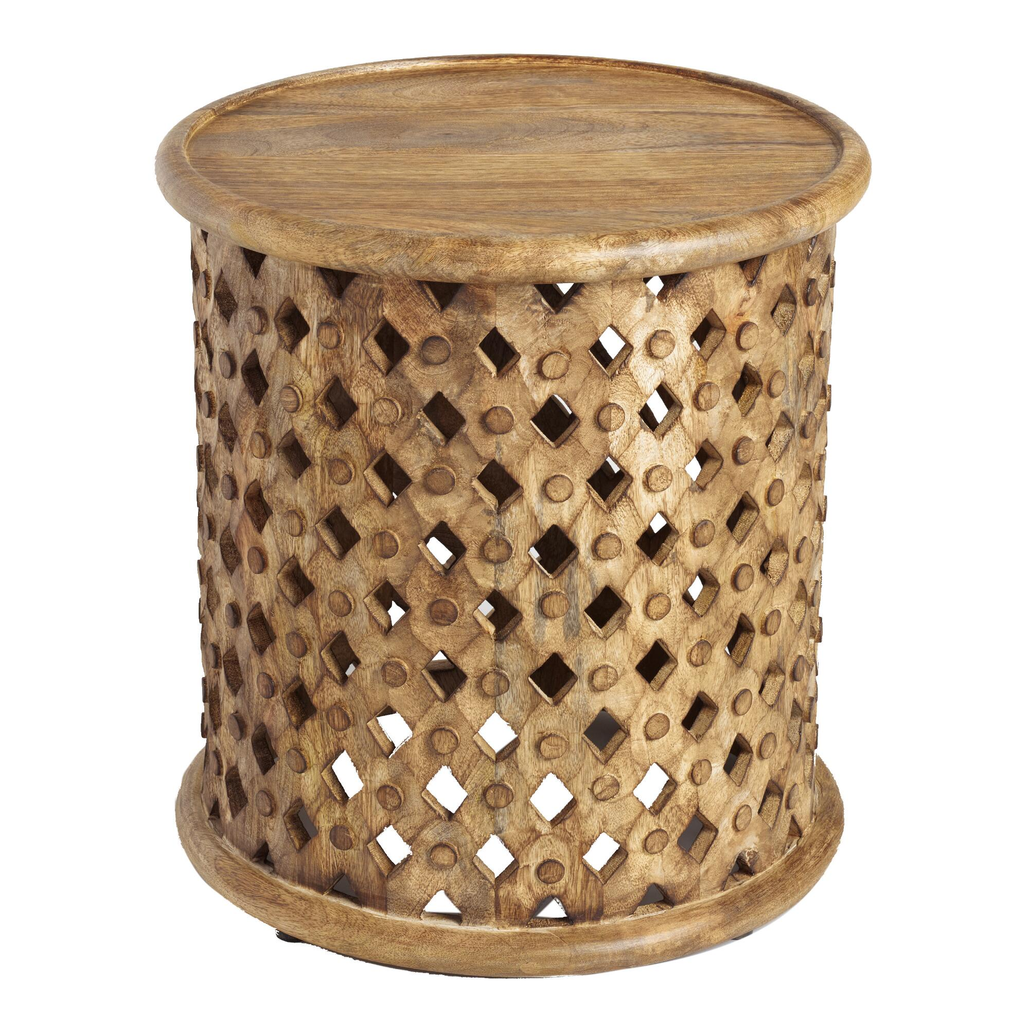 Tribal Carved Wood Accent Table | World Market