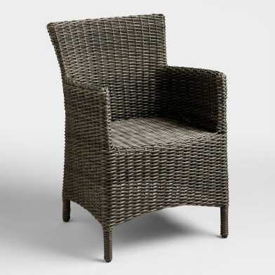Gray All Weather Wicker Solano Outdoor Dining Armchair