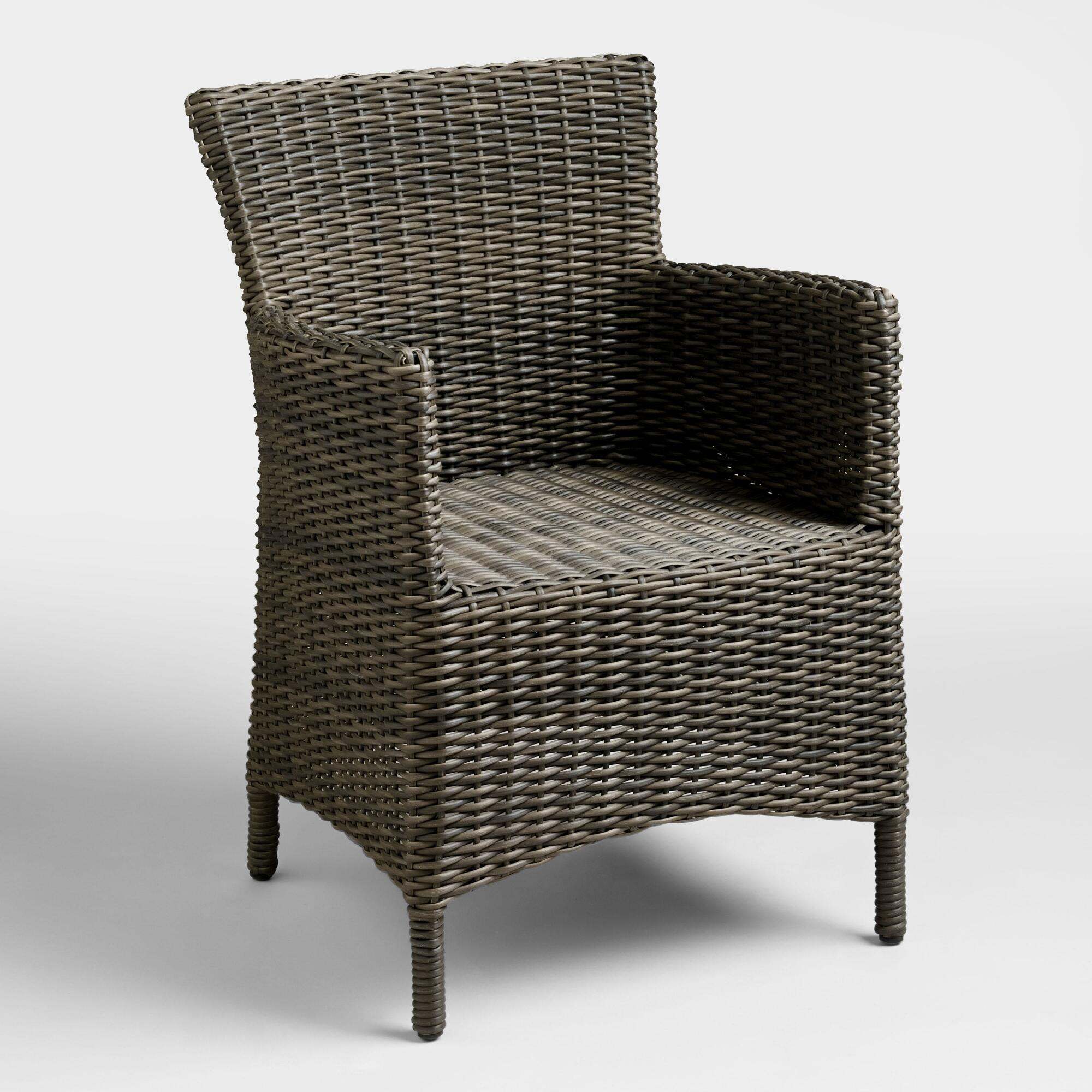 Gray All Weather Wicker Solano Armchair   World Market. Outdoor Resin Wicker Chairs Canada. Home Design Ideas