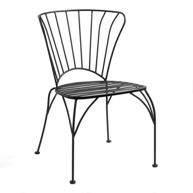 Outdoor Metal Furniture For Sale: Black Metal Cadiz Outdoor Stacking Chairs Set Of 2