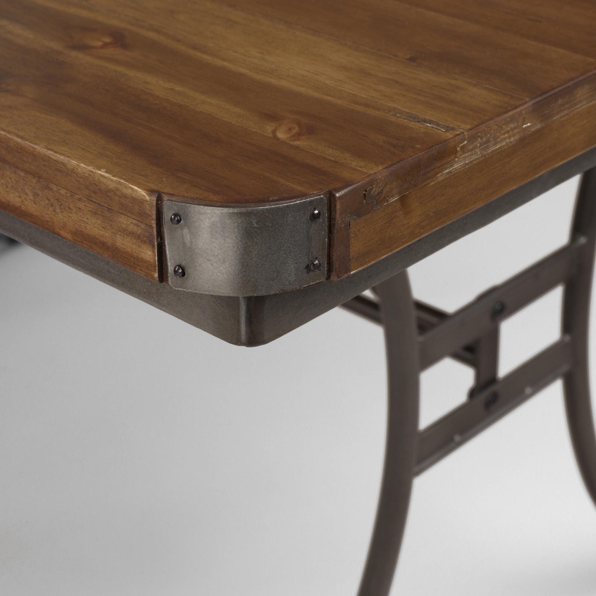 metal dining table, french industrial wood & metal dining table ...