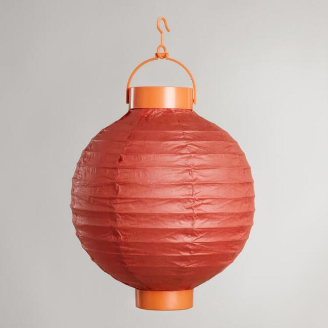 Orange Battery-Operated Paper Lanterns, Set of 4