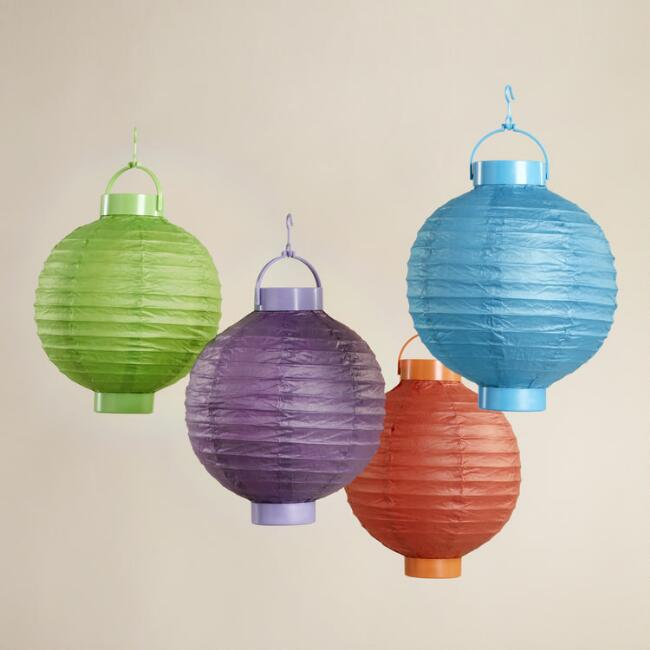 Mixed Spring Colors Battery-Operated Lanterns, Pack of 4