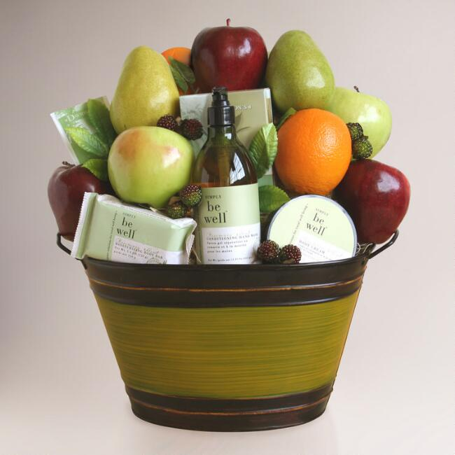 Life's Simple Pleasures Organic Fruit and Spa Gift Basket