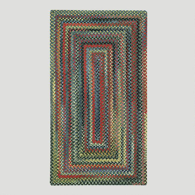 Parakeet Concentric Rectangle Plymouth Braided Rug