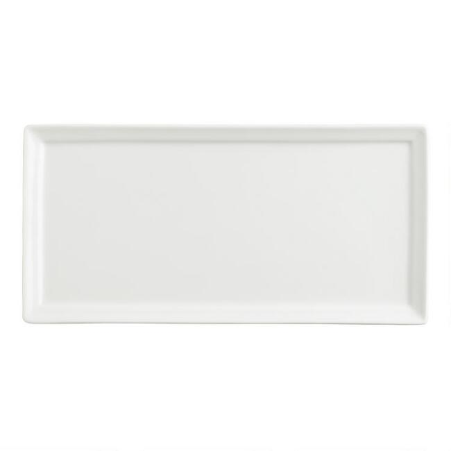 Mini White Porcelain Rectangular Tasting Plates, Set of 4