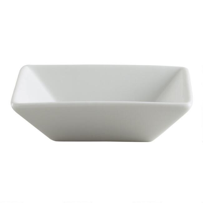 White Porcelain Square Tasting Dishes, Set of 6