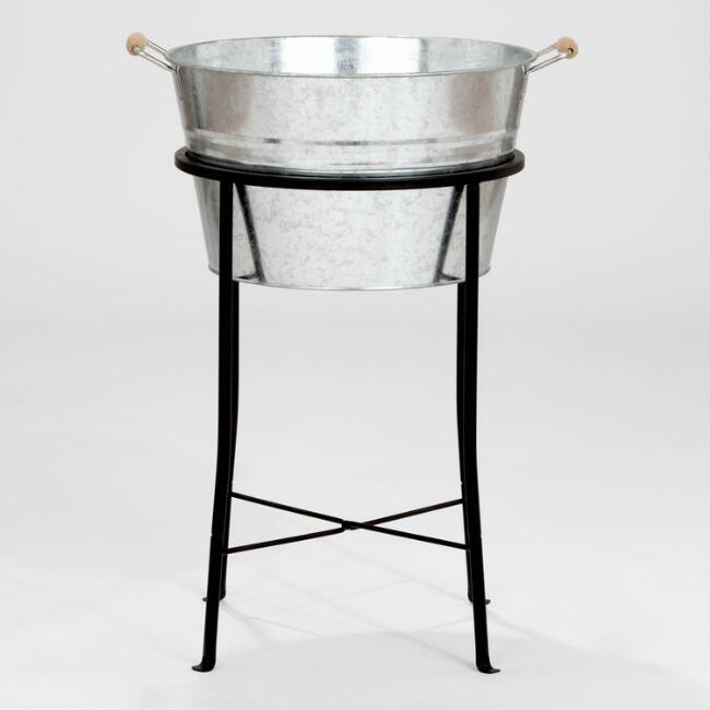 Galvanized Party Tub and Metal Stand