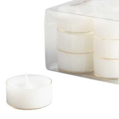 White Clear Cup Tealight Candles 12 Pack