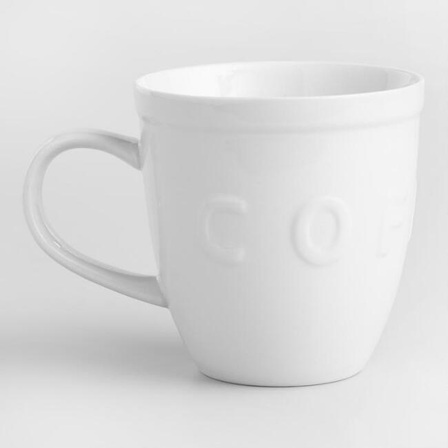 White embossed coffee mugs set of 2 world market gumiabroncs Image collections