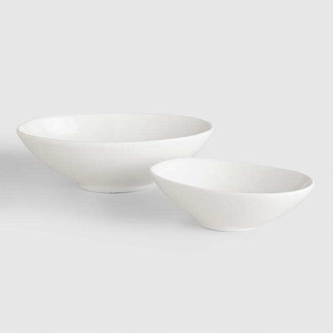 White Oval Bowls, Set of 4