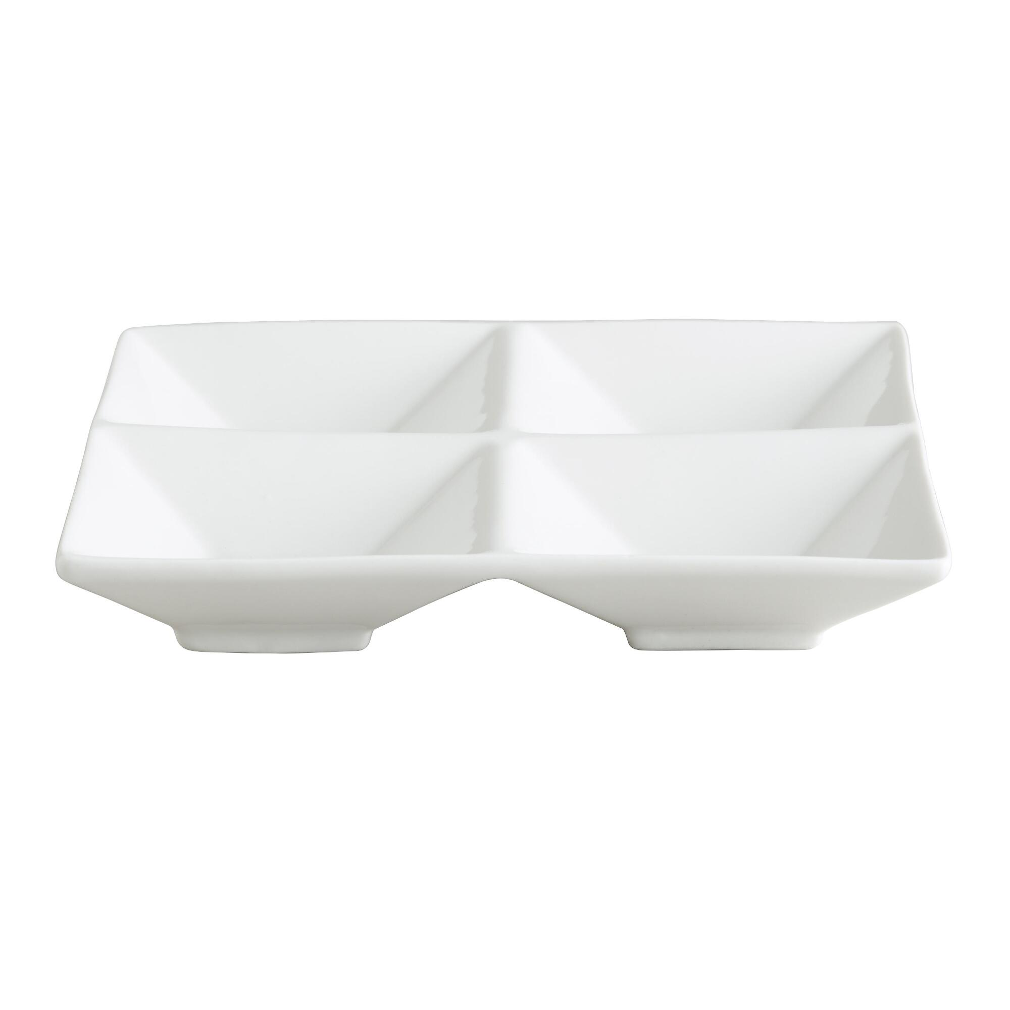 White Porcelain 4-Section Tasting Trays, Set of 6 by World Market