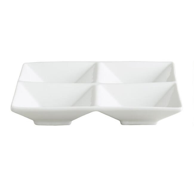 White Porcelain Divided Tasting Trays Set Of 6