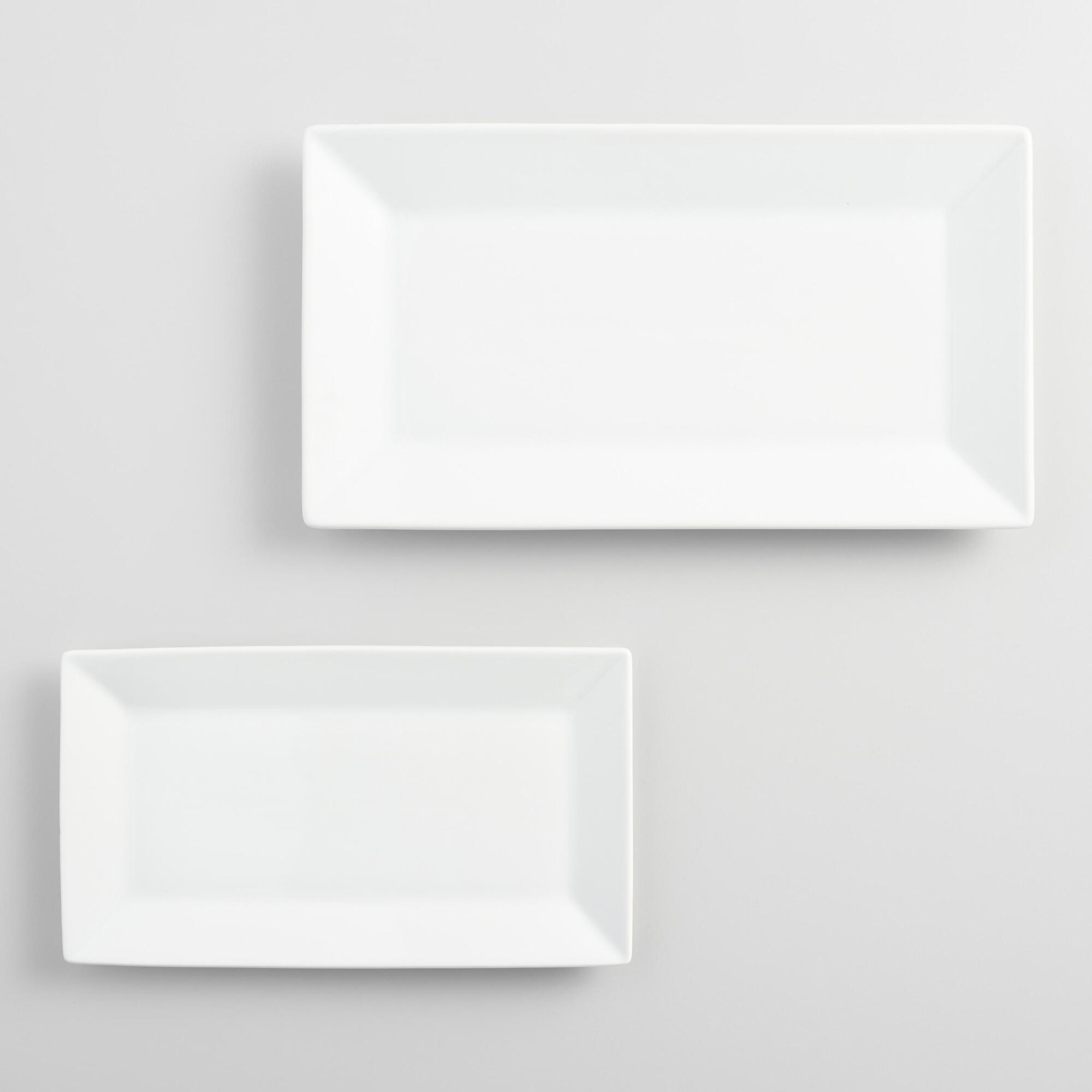 White Rimmed Rectangle Platters - Porcelain - Small by World Market Small