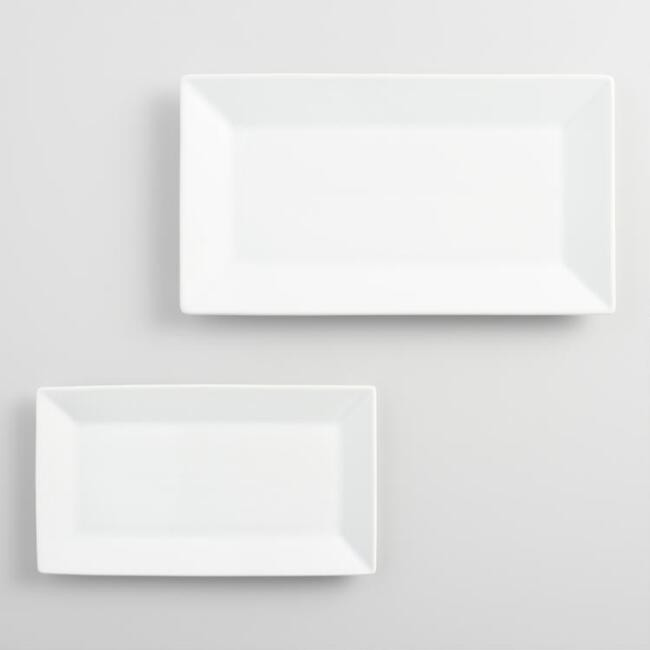 Rectangular White Porcelain Rimmed Serving Platter