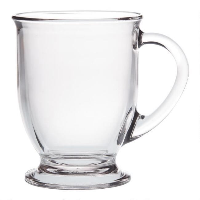 Glass Café Mugs Set of 2