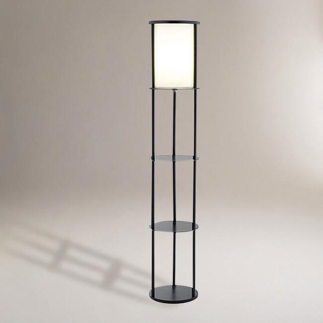 Black Stewart Shelf Floor Lamp